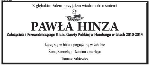 Kondolencje P.Hinz