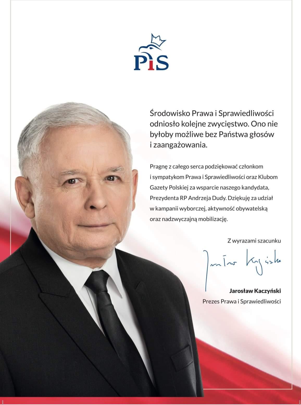 List Jaroslaw Kaczynski