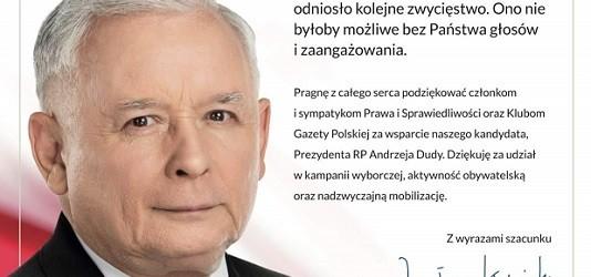 """Jarosław Kaczyński dziękuje Klubom """"Gazety Polskiej"""": środowisko PiS odniosło kolejne zwycięstwo"""