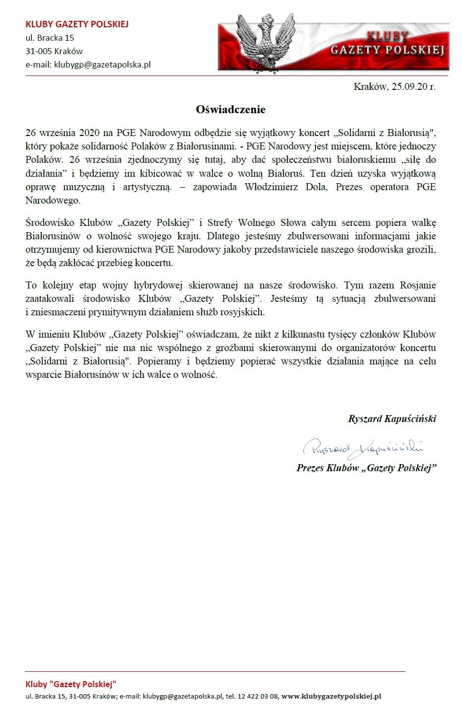 Oswiadczenie-solidarni z bialorusia