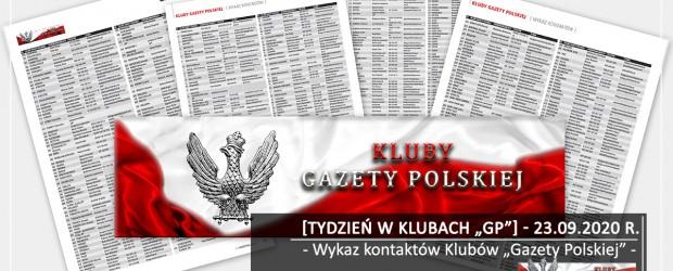 """[Tydzień w Klubach """"GP""""] Wykaz kontaktów Klubów """"Gazety Polskiej"""""""