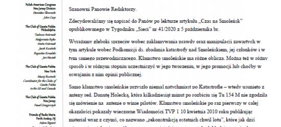 """List otwarty Polonii do dziennikarzy """"Sieci"""": Wyrażamy głęboki sprzeciw wobec zakłamywania prawdy"""