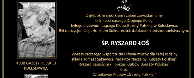 """Z głębokim smutkiem i żalem zawiadamiamy o śmierci byłego przewodniczącego Klubu """"GP"""" Bolesławiec, ŚP. RYSZARD ŁOŚ"""
