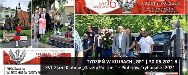 """TYDZIEŃ W KLUBACH """"GP"""" XVI  Zjazd Klubów """"Gazety Polskiej"""" – Piotrków Trybunalski 2021"""