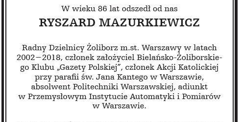 WARSZAWA BIELANY – ŻOLIBORZ   Odszedł od Nas Ryszard Mazurkiewicz