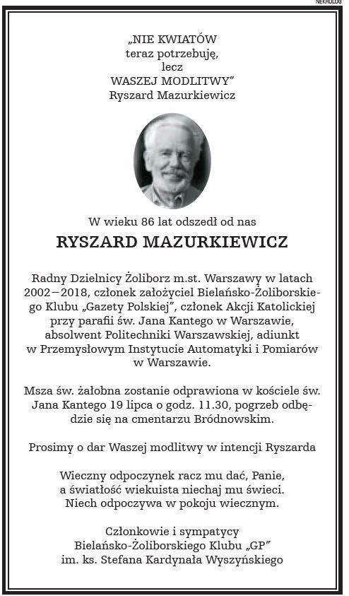 2021.07.19 Bielany Żoliborz - Ryszard Mazurkiewicz NEKROLOG