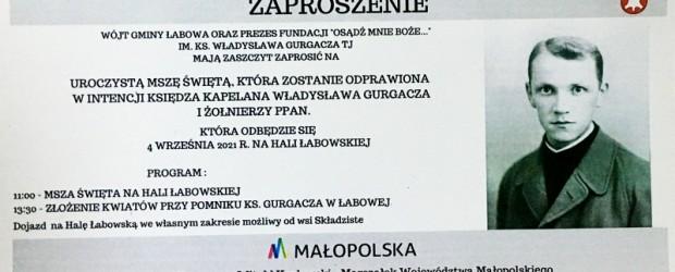 NOWY SĄCZ im.o. Gurgacza SJ| Informacje o Mszy św. 4.09 na Hali Łabowskiej, noclegi, dojazd