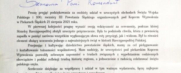 GLIWICE | Podziękowanie od Prezydent Piekar Śląskich dla Marty Święcickiej